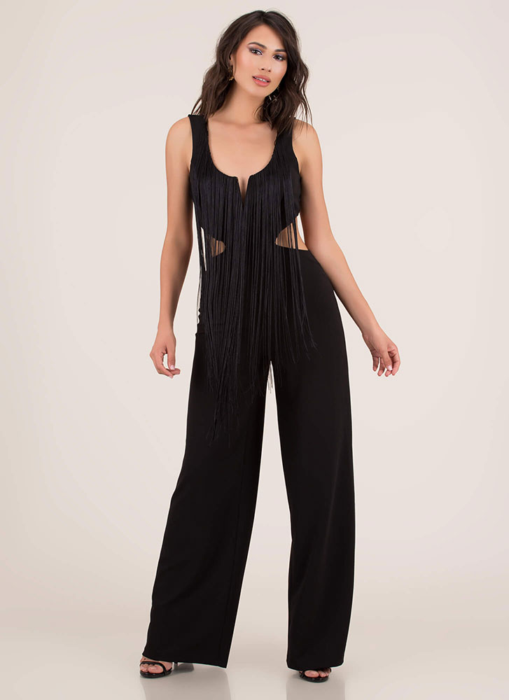 Fringe Fan Cut-Out Palazzo Jumpsuit BLACK