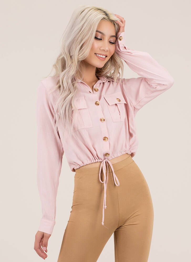 It's A Cinch Button-Up Drawstring Top BLUSH