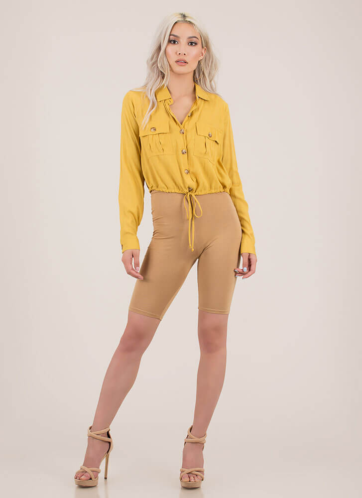 It's A Cinch Button-Up Drawstring Top MUSTARD