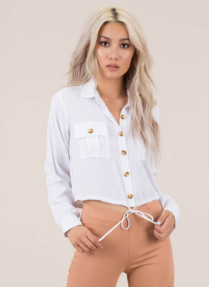 It's A Cinch Button-Up Drawstring Top WHITE