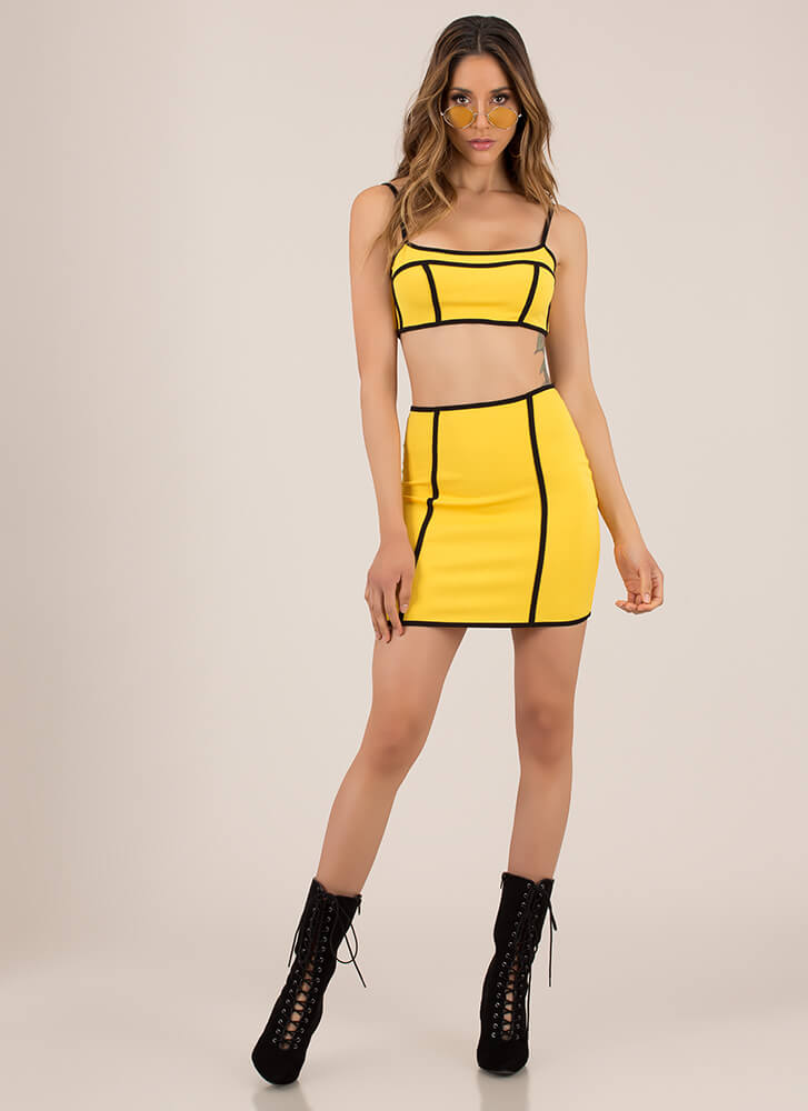 Piping Hot Trimmed Top And Skirt Set YELLOW