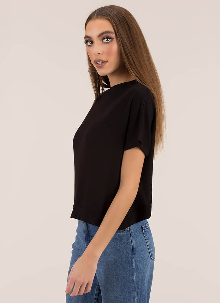 X Marks The Back Wide Cut-Out Top BLACK