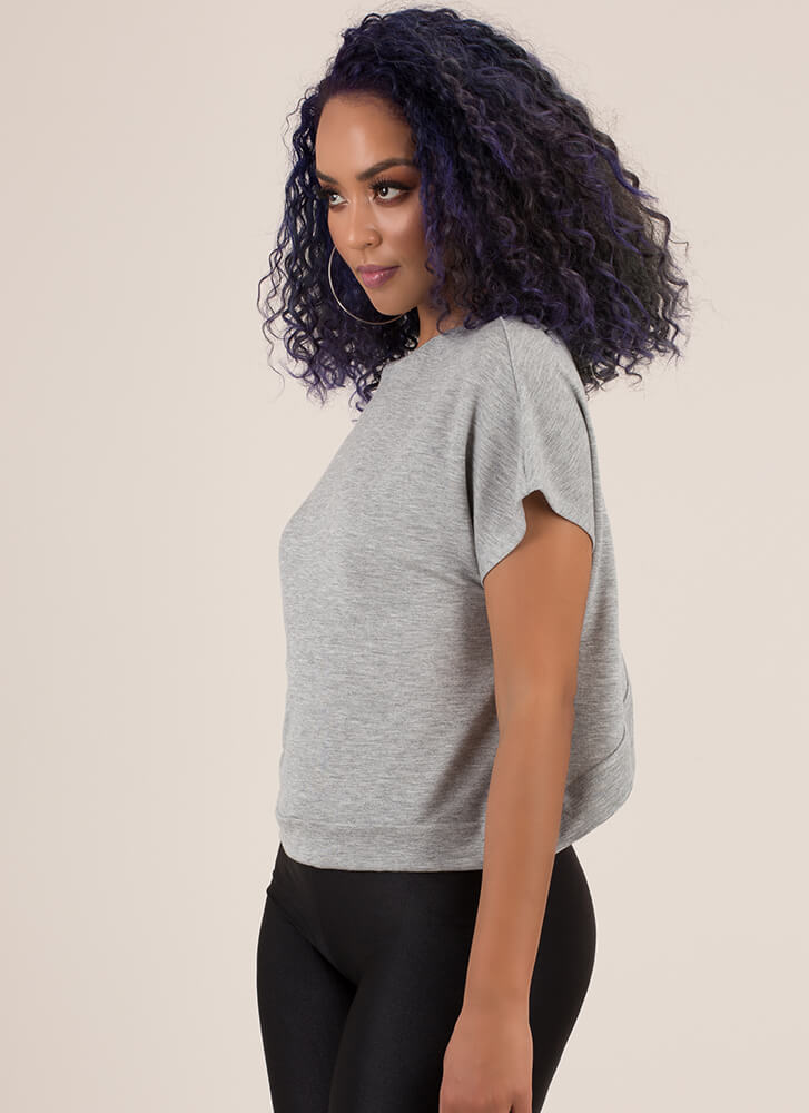 X Marks The Back Wide Cut-Out Top GREY