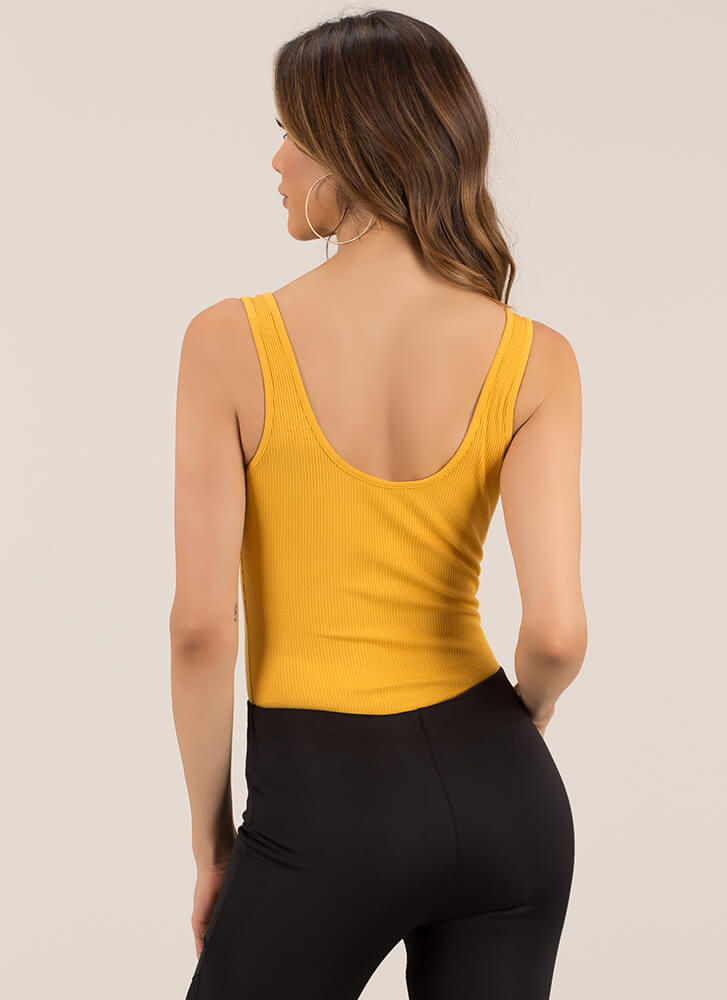 Up A Notch Rib Knit Thong Bodysuit MUSTARD