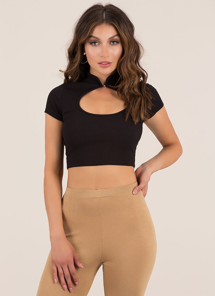 Friend Circle Ribbed Cut-Out Crop Top BLACK (Final Sale)