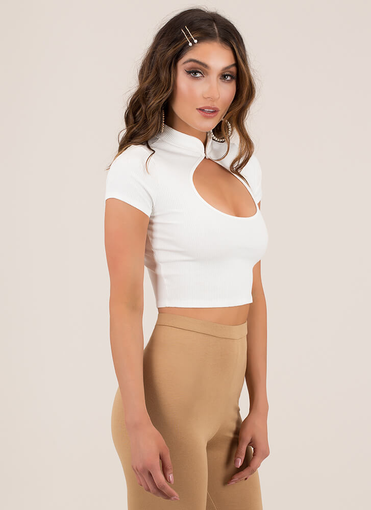 Friend Circle Ribbed Cut-Out Crop Top WHITE