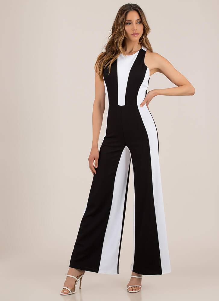 Illusion Two-Toned Wide-Leg Jumpsuit BLACKWHITE (You Saved $24)