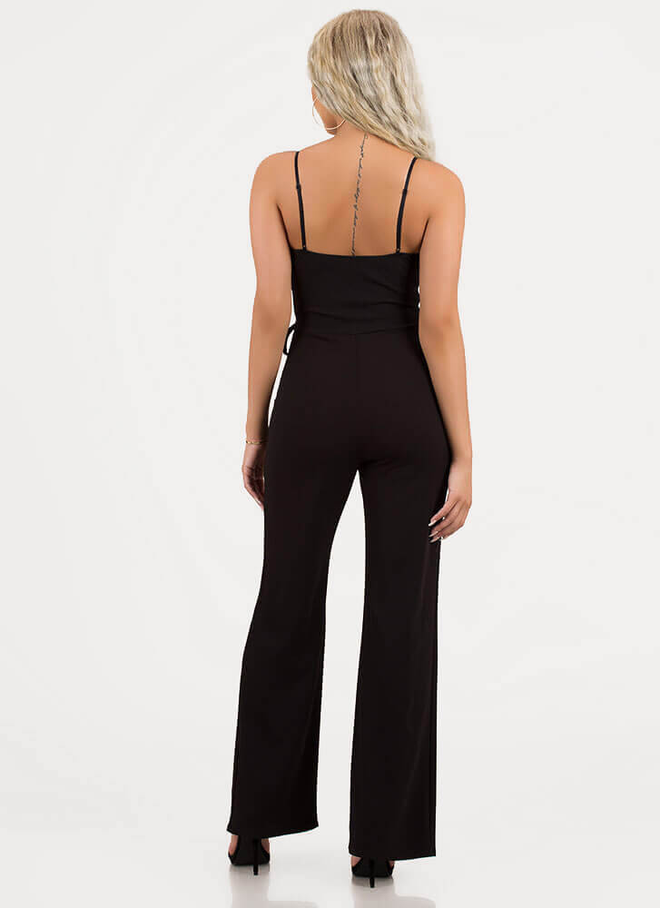 Perfectly Suited Tied Wide-Leg Jumpsuit BLACK