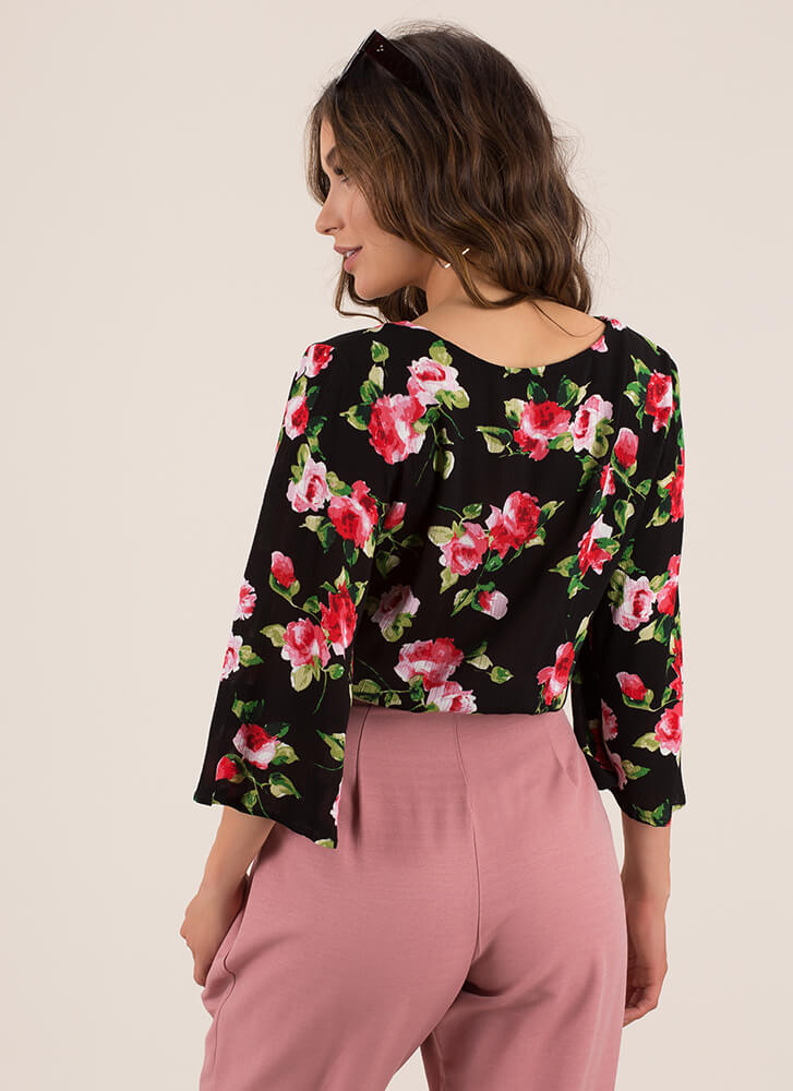 Floral Forever Tied Bell Sleeve Top BLACK