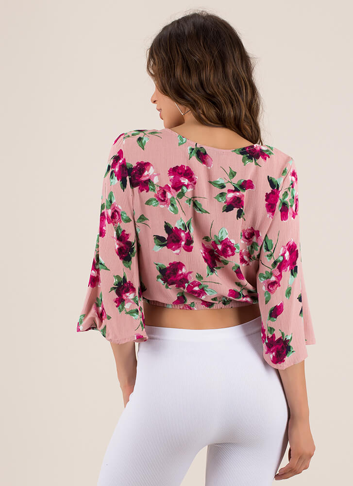 Floral Forever Tied Bell Sleeve Top MAUVE