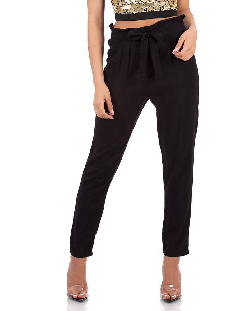 I'm There For You Tie-Front Pants BLACK