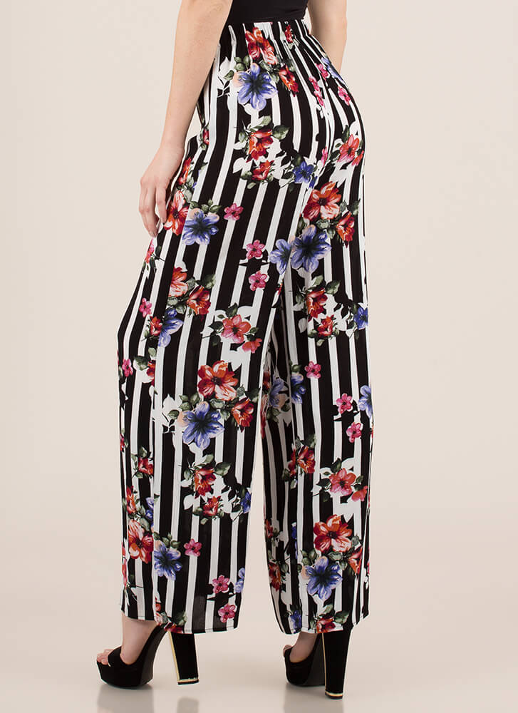 Prints And Palazzos Striped Floral Pants BLACKMULTI