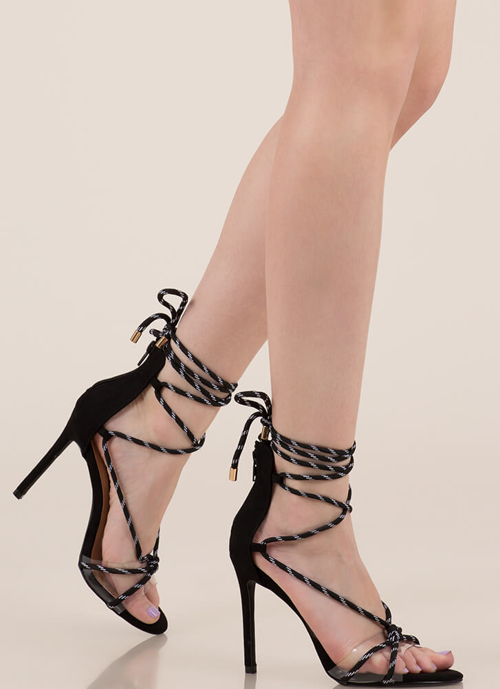 Get Your Ropes Up Lace-Up Heels BLACK (You Saved $19)