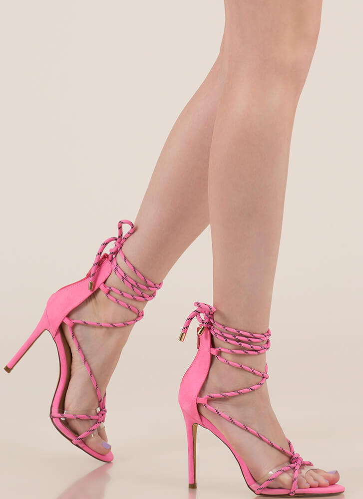 Get Your Ropes Up Lace-Up Heels NEONPINK (You Saved $19)