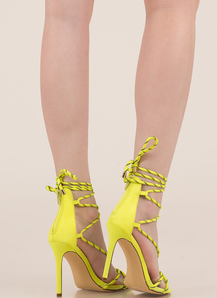 Get Your Ropes Up Lace-Up Heels YELLOW (You Saved $19)