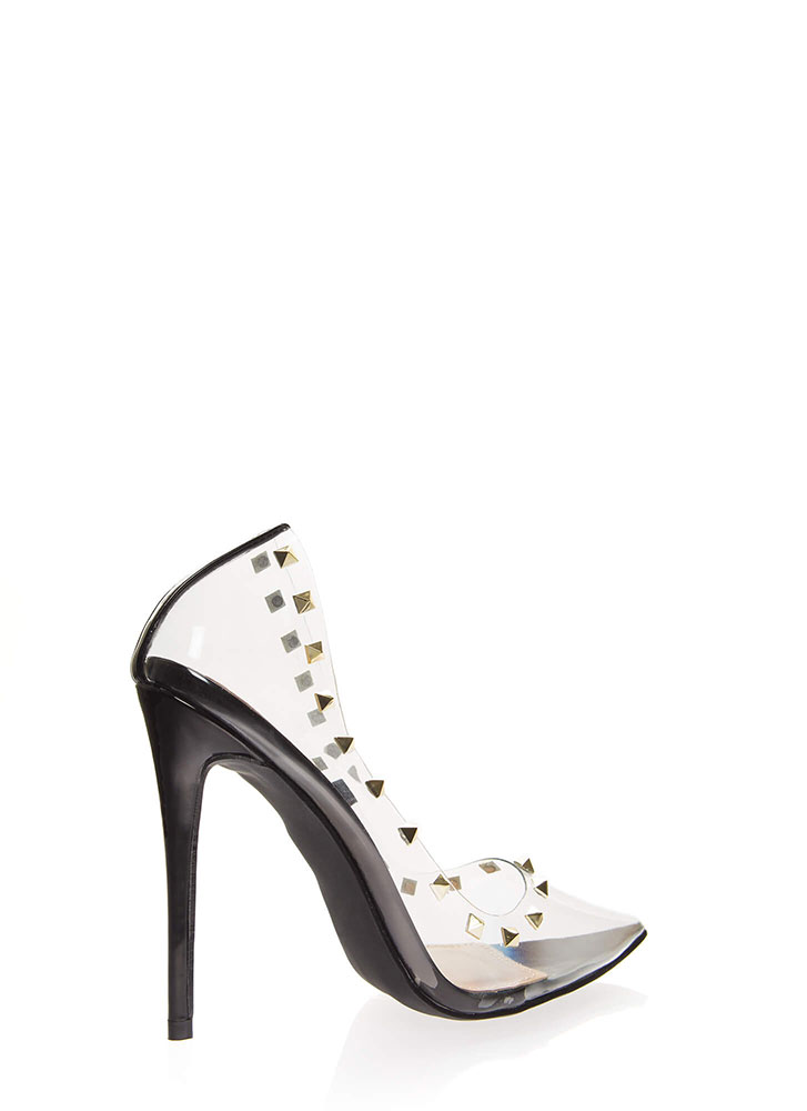 Clearly Edgy Studded Pointy Pumps BLACK