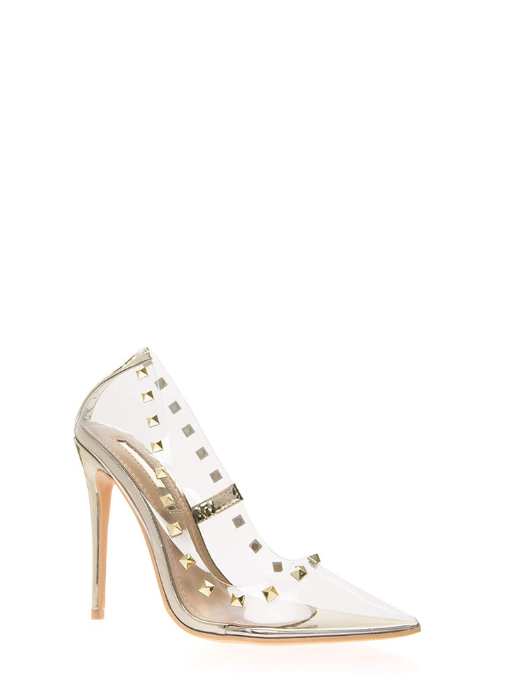 Clearly Edgy Studded Pointy Pumps GOLD