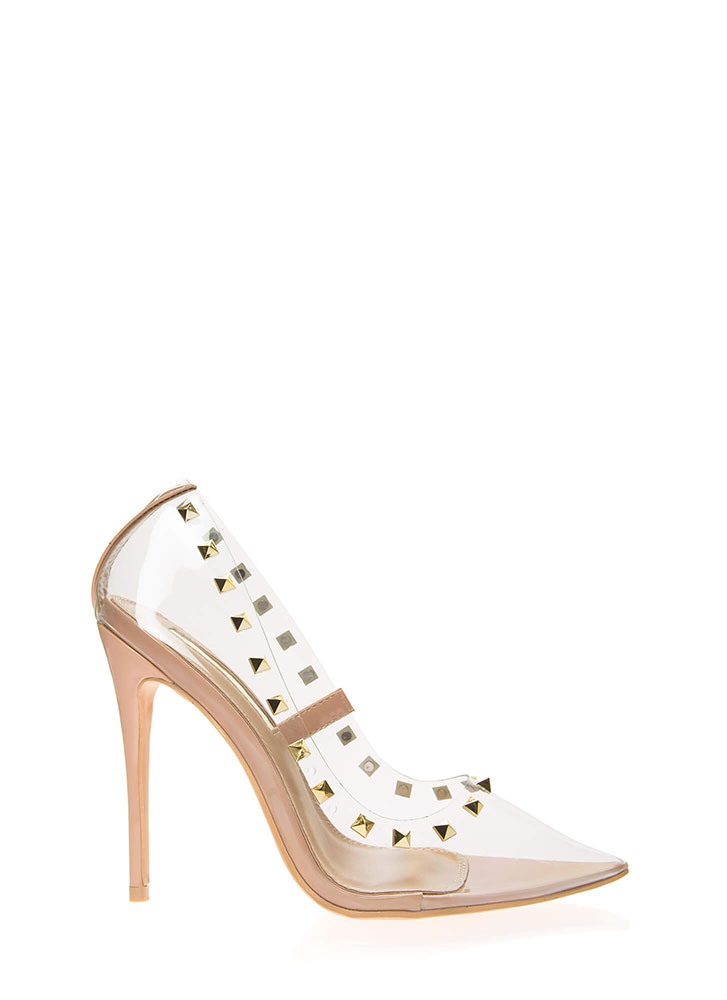 Clearly Edgy Studded Pointy Pumps NUDE