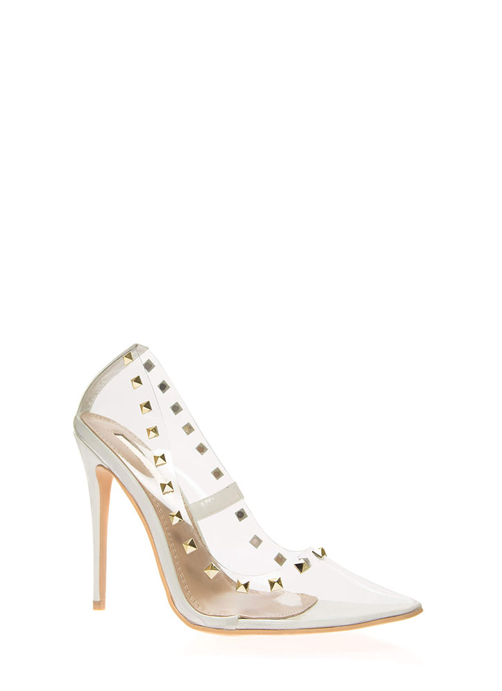 Clearly Edgy Studded Pointy Pumps WHITE