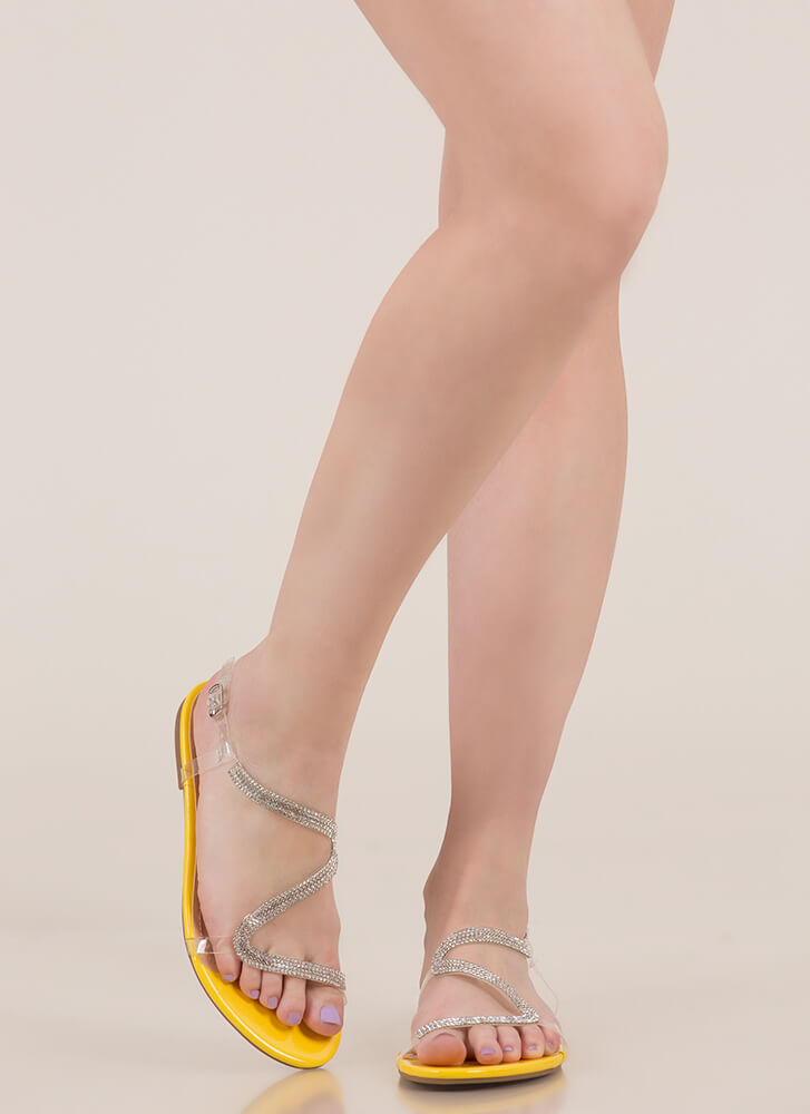 S Factor Jeweled Clear Strap Sandals YELLOW