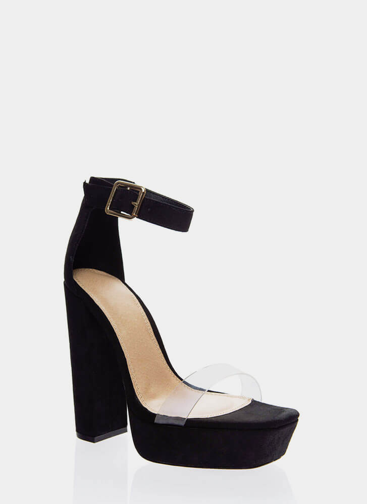 My Rainbow Chunky Clear Strap Platforms BLACK (Final Sale)