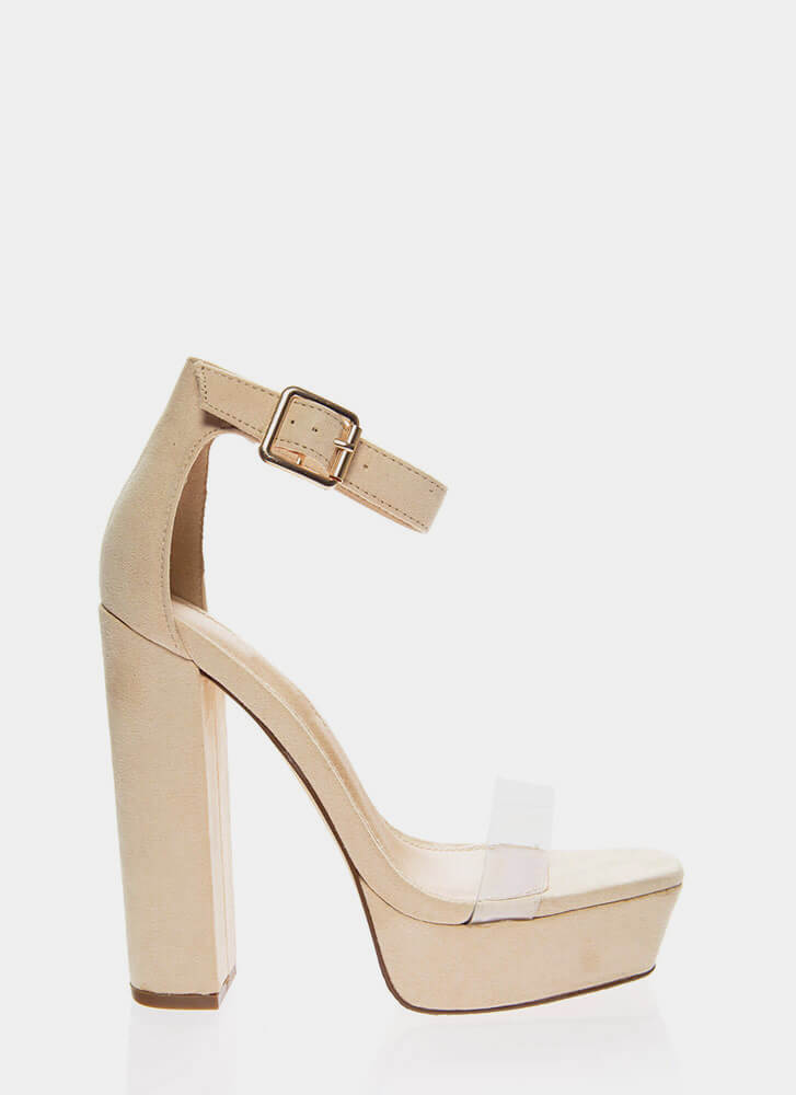 My Rainbow Chunky Clear Strap Platforms NUDE (Final Sale)