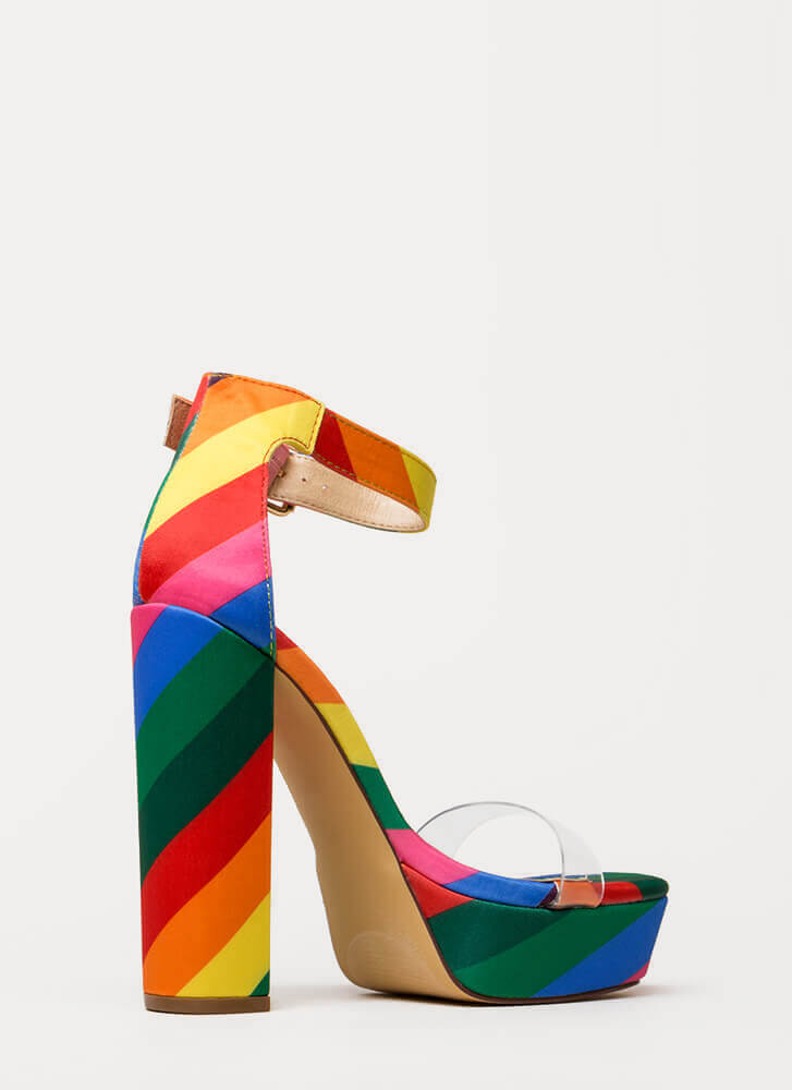 My Rainbow Chunky Clear Strap Platforms RAINBOW (Final Sale)