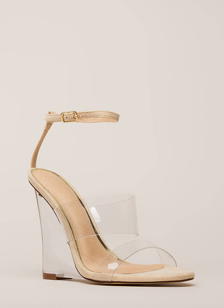 Do I Make Myself Clear Illusion Wedges NUDE