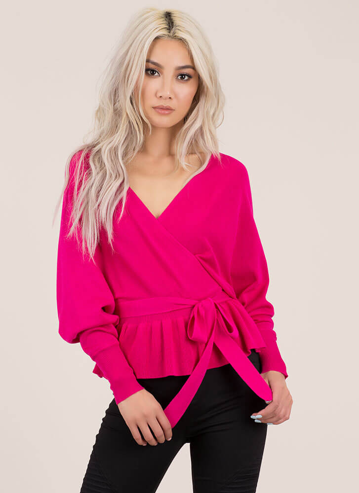 Casual Elegance Peplum Sweater Top PINK (You Saved $24)