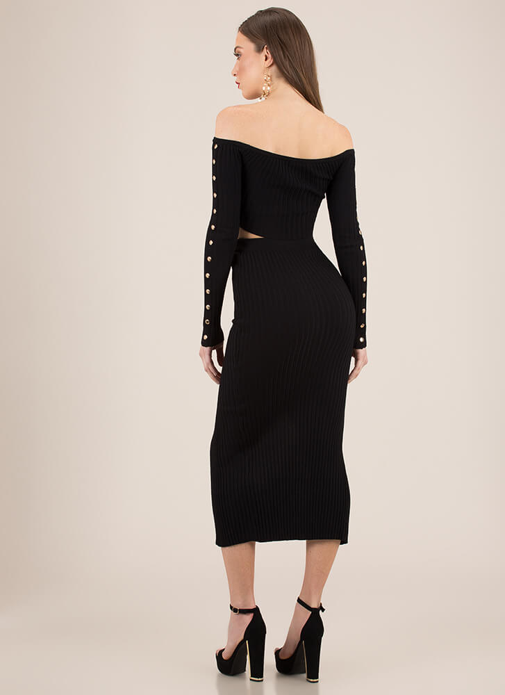 Hot Button Ribbed Top And Skirt Set BLACK