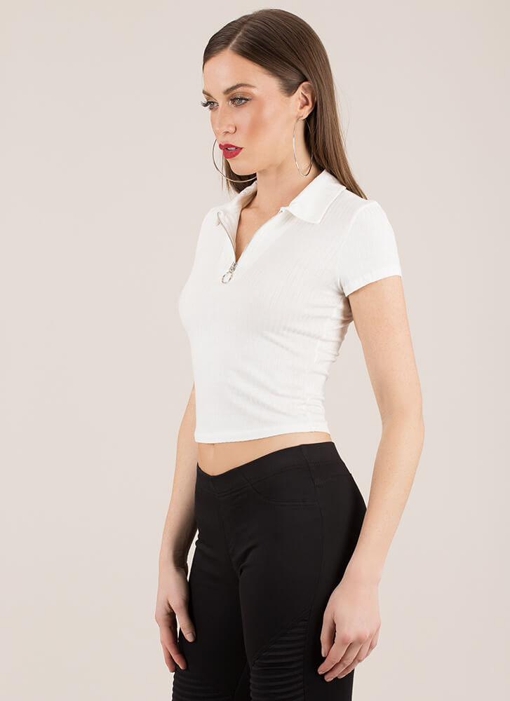 Let It Ring Ribbed Zip-Front Top WHITE