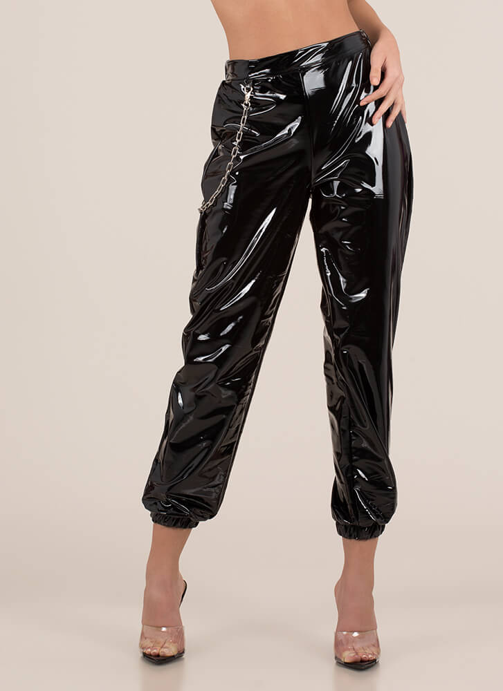Baddie Chained Faux Patent Joggers BLACK