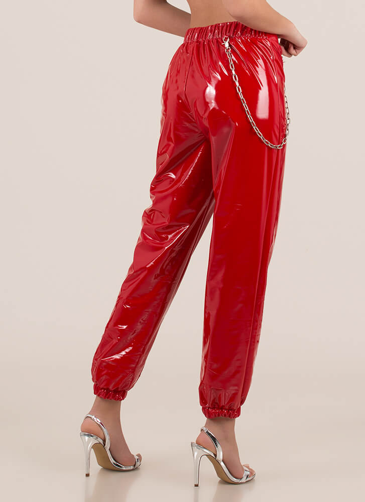 Baddie Chained Faux Patent Joggers RED