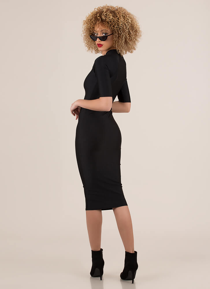 Ready To Go Zip-Front Nylon Midi Dress BLACK