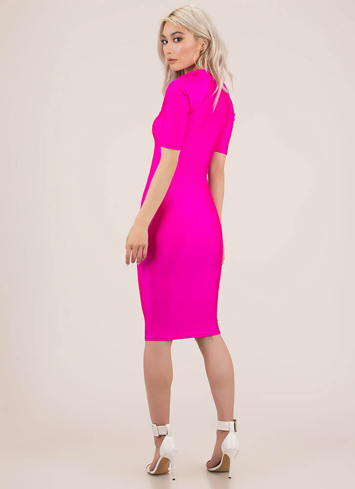 Ready To Go Zip-Front Nylon Midi Dress NEONPINK