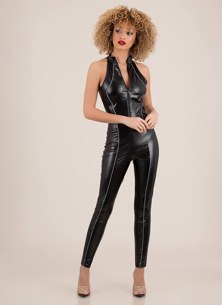 Piping Hot Zip-Up Faux Leather Jumpsuit BLACK