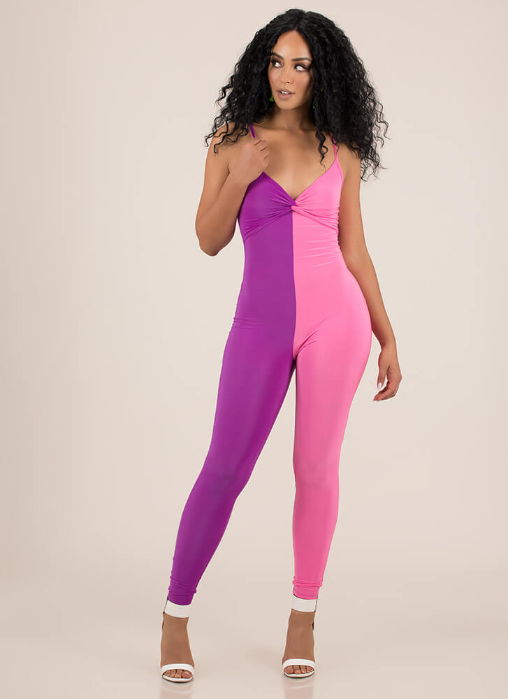 With A Twist Halved Colorblock Jumpsuit PURPLEPINK