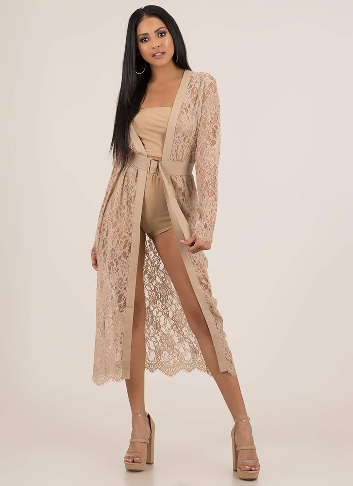 Sheer Class Belted Floral Lace Duster NUDE
