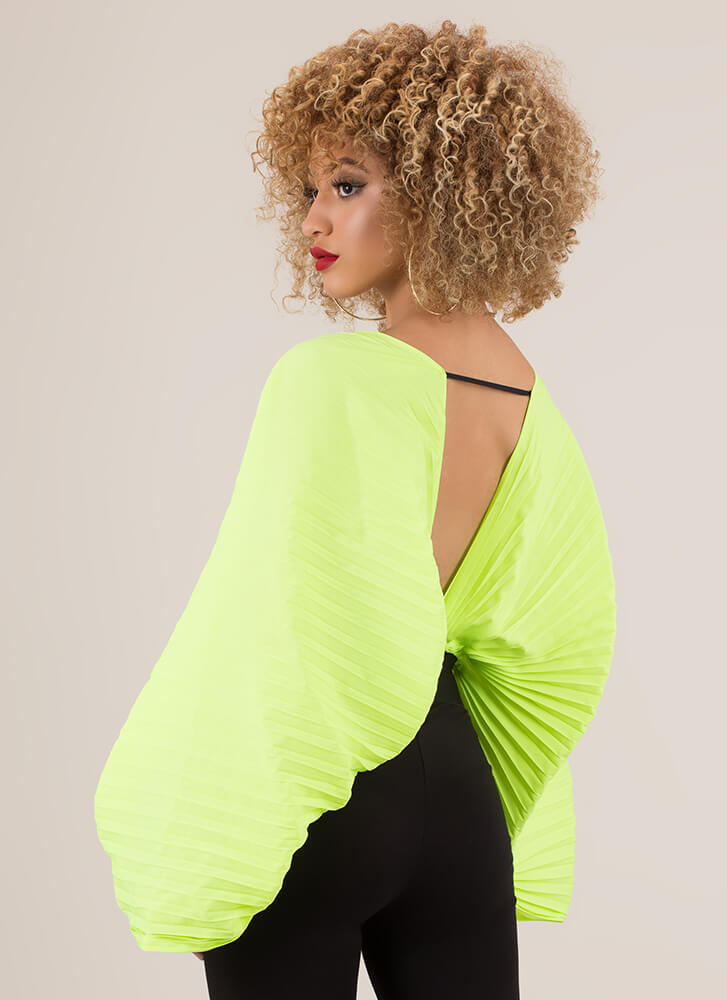 Act Accordionly Pleated Winged Crop Top NEONGREEN (You Saved $24)