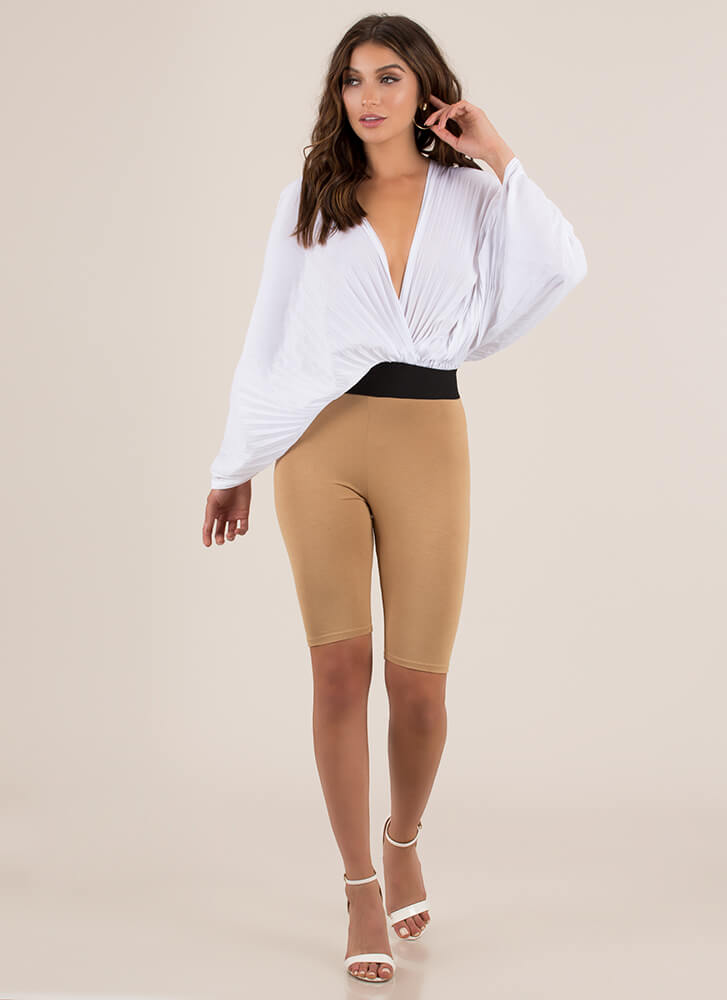 Act Accordionly Pleated Winged Crop Top WHITE (You Saved $24)