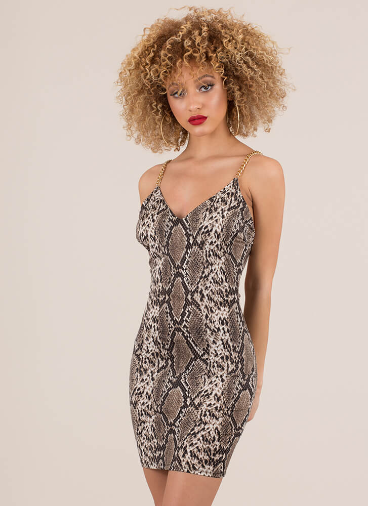 Snake In Chains Open-Back Minidress BROWN