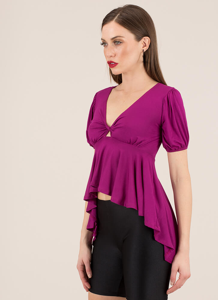 High-Low With A Twist Puffy Sleeve Top MAGENTA