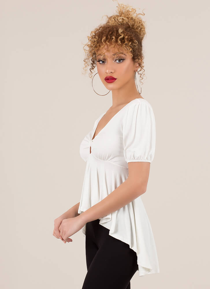 High-Low With A Twist Puffy Sleeve Top WHITE