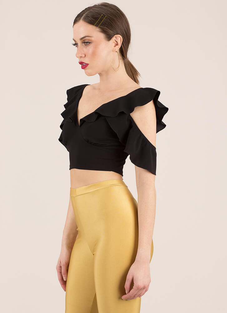 Can You Frill Me Ruffled Crop Top BLACK