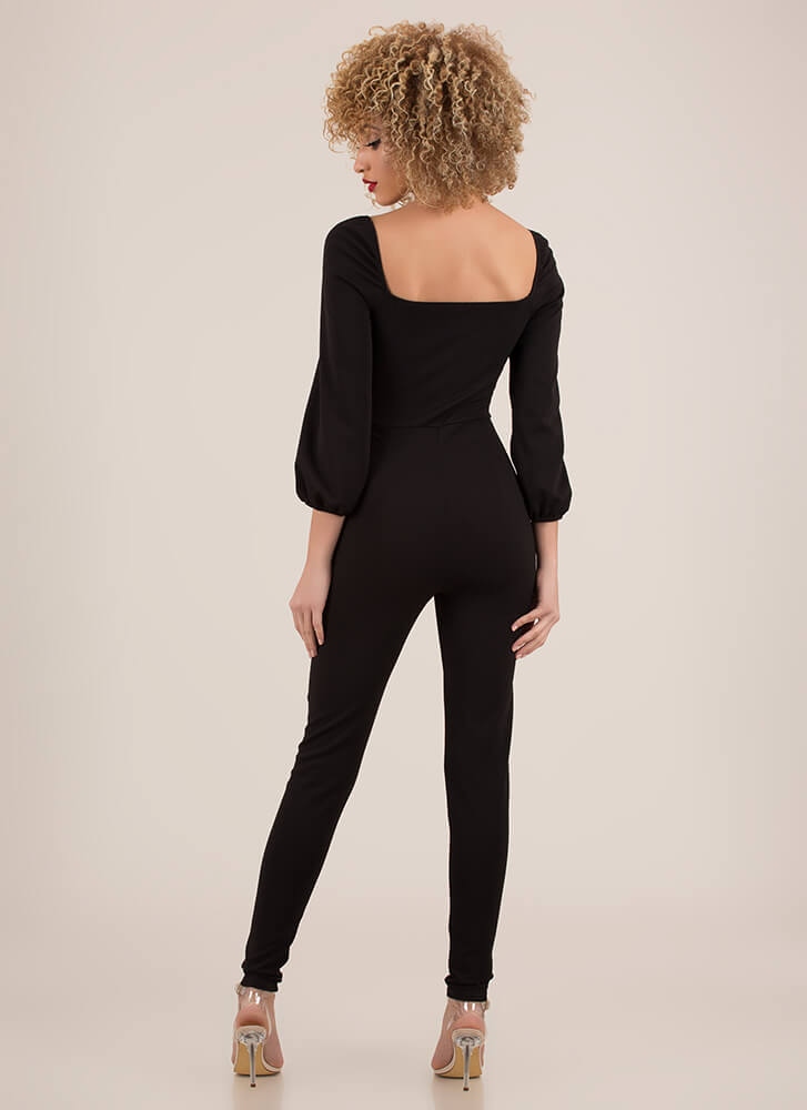 Twisted Love Cut-Out Sweetheart Jumpsuit BLACK (Final Sale)