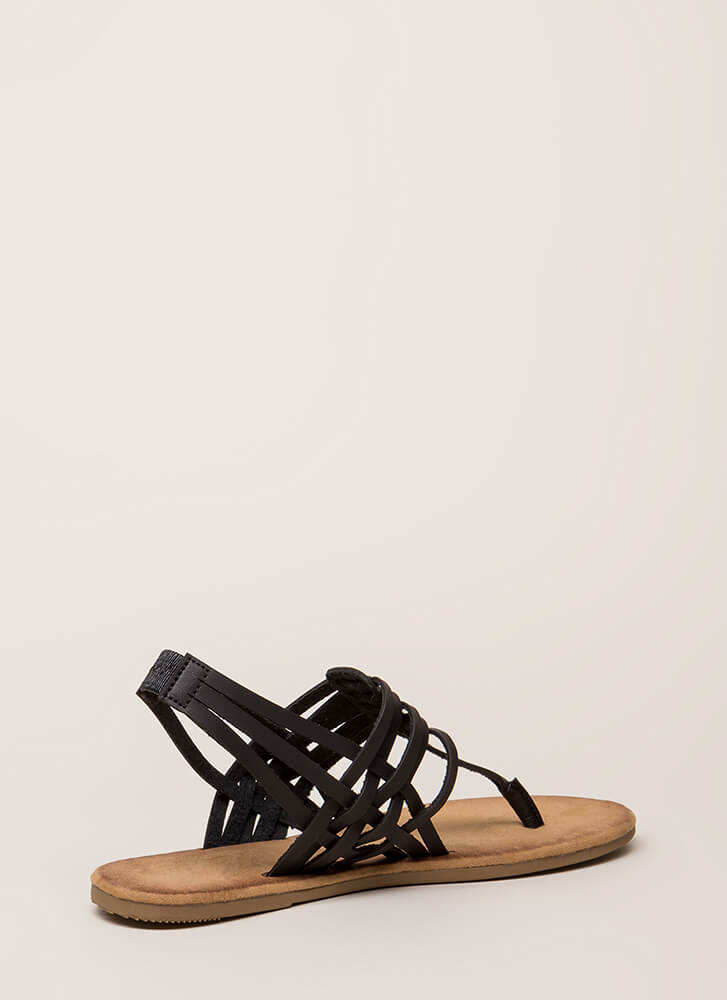Strappy All The Time Woven Thong Sandals BLACK