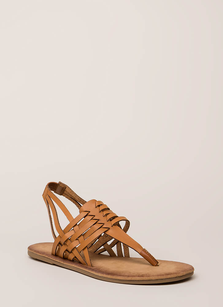 Strappy All The Time Woven Thong Sandals TAN (Final Sale)