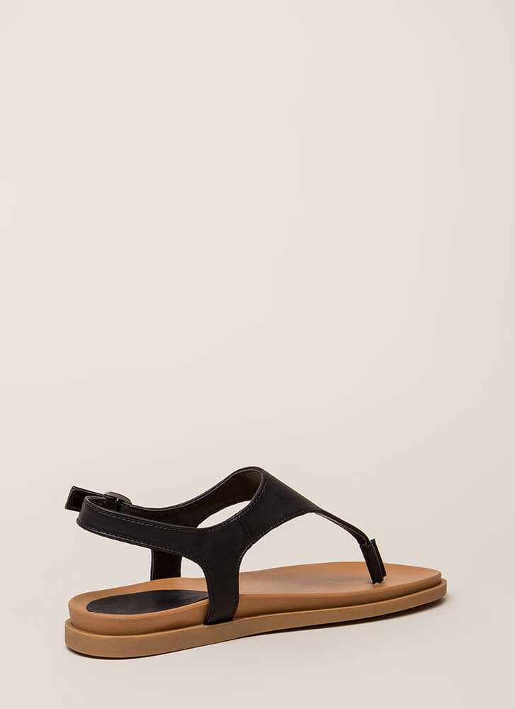 On Vacation T-Strap Thong Sandals BLACK