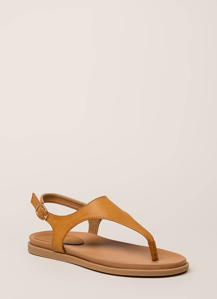 On Vacation T-Strap Thong Sandals TAN