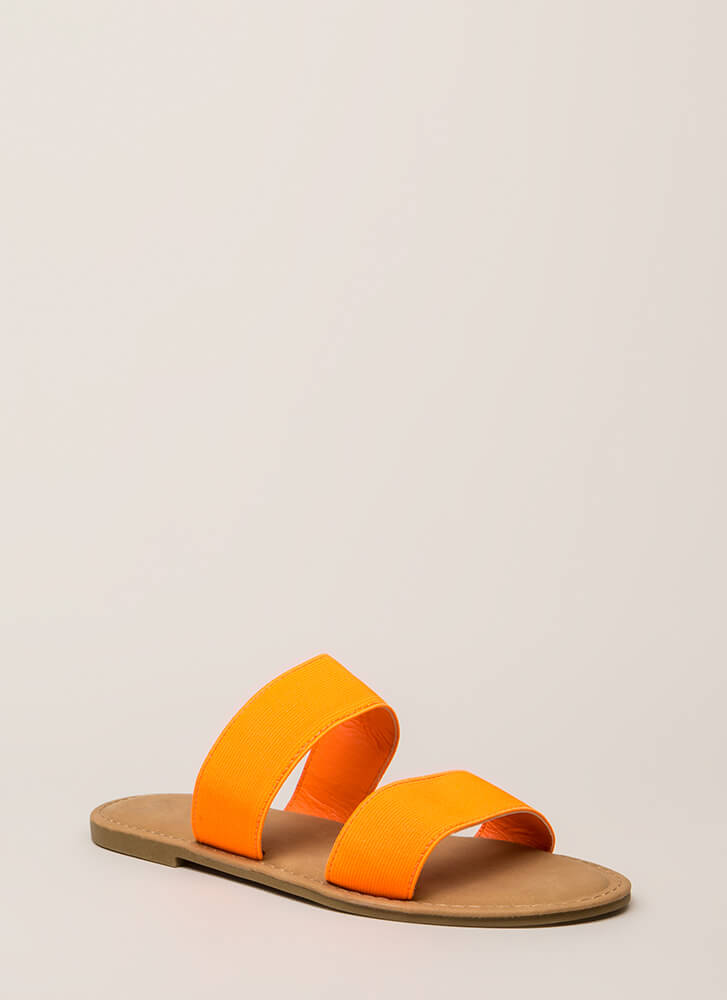 Making The Bands Strappy Slide Sandals NEONORANGE